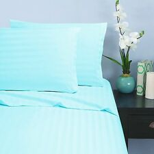Sheet Set 6PCs Egyptian Cotton 1000TC All US Size Made in India Aqua Blue Stripe