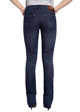 Sexy Womens Straight Leg Jeans Low Rise Trousers Slim Fit Blue Wash Denim Pant