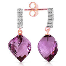 Natural Amethyst Twisted Briolette Gem & Diamonds Dangle Earrings 14K Solid Gold