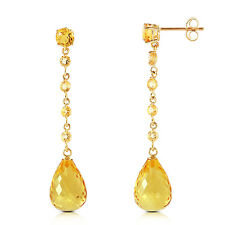 Natural Citrines Briolettes & Round Gemstones Chandelier Earrings 14K Solid Gold