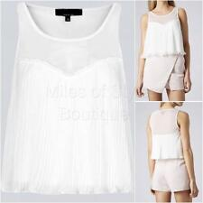 New Ex TOPSHOP Ladies Casual White Sleeveless Summer Cropped Top Size 10 - 16