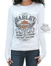 Harley-Davidson Ladies Glitter HDMC Filigree White Ribbed Long Sleeve T-Shirt