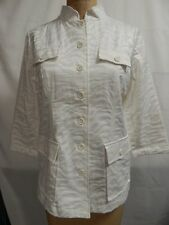 Linea by Louis Dell'Olio Jacquard Button Front Jacket S White NWOT