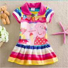 girl rainbow short sleeve summer peppa pig cartoon cotton princess dress 18m-6y