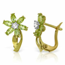 Genuine Peridot Gems & Diamonds Flower Leverback Studs 14K. Solid Gold Earrings