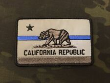 REFLECTIVE Subdued Thin Blue Line California State Flag Patch