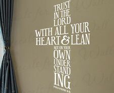 Trust In The Lord With Heart Proverbs 3:5 Decal Vinyl Bible Wall Art Quote T29