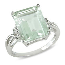 ICE  5 3/4 Carat Green Amethyst & White Topaz Ring in Silver