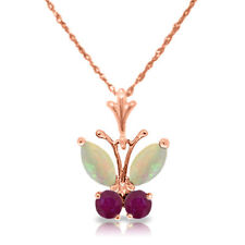 Genuine Opal & Ruby Gems Butterfly Pendant Necklace 14K Yellow, White, Rose Gold