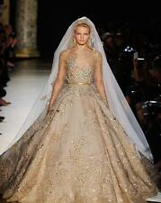 Elie Saab Gold Lace Beads Wedding Dress, Ball Gown, Train, Sequins, Celebrity
