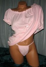 Pink 2 Piece Nightgown Babydoll Short Gown Panty 1X 2X 3X Plus Size PJs