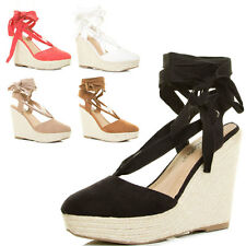 New Espadrille Platform Wedge Heel Self-Tie Leg Wrap Ankle Strap Sandal Pump US