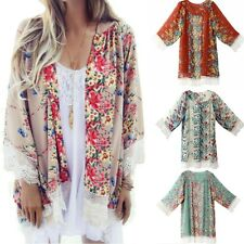 Vintage Womens Kimono Floral Loose Jacket Coat Cardigan Lace Chiffon Blouse Tops