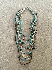 Blue Brown Cream Long Beaded Necklace