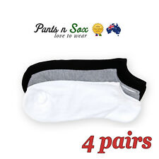 4 Pcs Mens Sports Cushioned No Show Cotton Socks Black White Grey Fleeced Winter