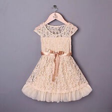 Kids Baby Girls Lace Flower Dresses Beige Princess Summer Party Dress Birthday