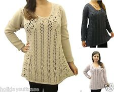 NEW LADIES WOMANS FLATTERING WINTER WARM CROCHET SWEATER JUMPER SIZE 12-22 UK