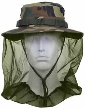 Woodland Camouflage Boonie Hat w/ Mosquito Head Netting Camping Hunting Bucket