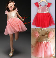 Girls Toddler Ruffled Sleeves Sequined Sparkle Tulle Party Dress Ball Gown Gifts