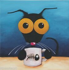 Original acrylic painting canvas whimsy Stressie black Cat coffee cup fish bone