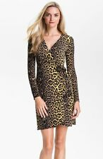 NWT-289-BCBG MAX AZRIA DRESS WRAP ADELE YELLOW BLACK M (8 10) ANIMAL PRINT