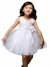 Kids Girls Flower Princess Party Dress Bow Wedding Bridesmaid Recital Pageant