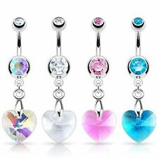 Surgical Steel Belly Bar with Crystal Ray Prism Heart CZ Dangle 14G 1.6mm