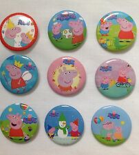 NEW PEPPA PIG BADGES (PACK OF 9) ~ PERFECT FOR PARTY BAG FILLERS/GIFTS/PRIZE