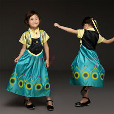 Kids Girls Anna Elsa Princess Frozen Dress Costume Christmas Party Fancy Cosplay