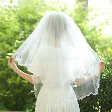 Elegant 3 Layers White Ivory Wedding Dress Satin Edge Beads Bridal Veil w/ Comb
