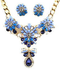 Blue Statement Bib Flower Necklace Earring Set Crystal Gold Chain Bridal Jewelry