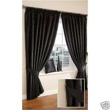 Black Lined Faux Silk Curtains + Tiebacks in 8 Sizes