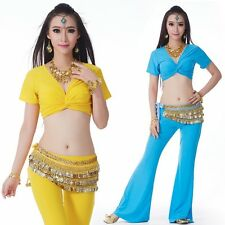 S17# Belly Dance Tribal Costume(Short Sleeve Top/Hip Scarf/Flared Pants)9 Colors