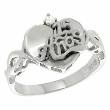 Sterling Silver Quinceanera 15 Anos Heart Ring CZ stones Rhodium Finish, 15/32""