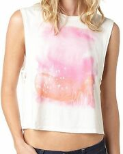 New ROXY Women's Jrs White Knit Graphic Painterly Tank Crop Top Tee Shirt $29