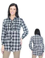 Antilia Femme Collared V-Neck Black & White Plaid Top