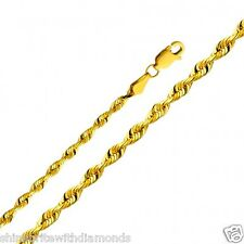 Solid 14k Yellow Gold 3mm Diamond Cut Solid Rope Chain 20 22 24 26 Inches