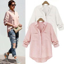 Summer Fashion Women's Loose Cotton Tops Long Sleeve Slim Shirt Casual Blouse