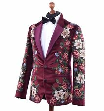 DOLCE & GABBANA RUNWAY Baroque Velour Floral Embroidery Blazer Jacket Red 03761