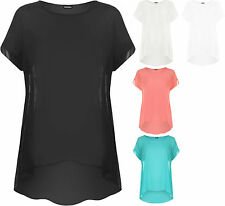 New Plus Size Womens Chiffon Dip Hem Sheer Short Sleeve Plain Long Ladies Top