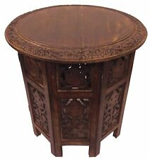 Small Round Wood End Accent Side Hand Carved Table Living Room Furniture
