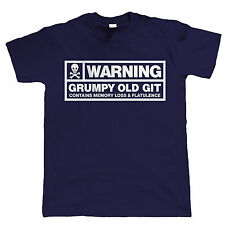 Warning, Grumpy Old Git, Mens Funny T Shirt - Birthday Gift for Dad Grandad Him