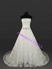 New lace white/ivory wedding dress Bridal Gown Gstock size:6-8-10-12-14-16