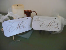 MR and MRS Wooden Wedding Sign Plaque Shabby Chair Photo Prop 2 Pieces
