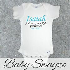 PERSONALIZED BABYS NAME A PARENT'S NAMES PRODUCTION YEAR NEWBORN GERBER® ONESIE®