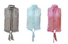 T75 NEW WOMENS BLACK & WHITE STRIPE SHEER BLOUSE LADIES CHIFFON SHIRT SUMMER TOP