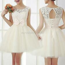 Wedding Champagne Pleated Prom Short Dress Lace Elegant New Lady Design New S-XL