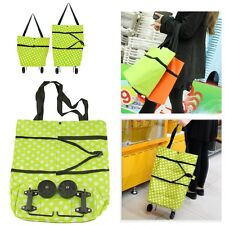 Folding Pouch Storage Bag Reusable Shopping Cart Swivel Wheel Basket Grocery Bag
