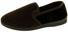 Mens Brown Slippers Gents Outdoor Sole Velour Shoe Slipper Size 6 7 8 9 10 11 12