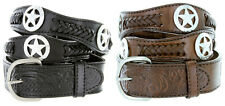 "Mens Western Star Conchos Genuine Leather Braided Cowboy Belt, 1-1/2"" Wide"